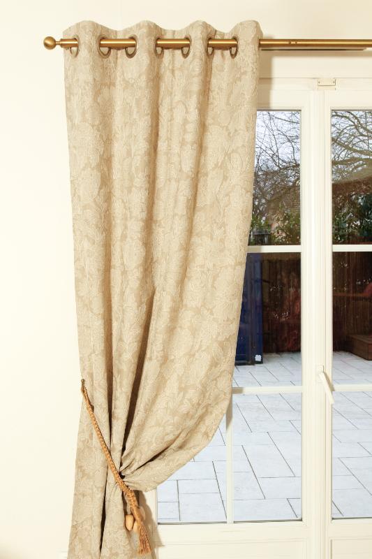rideaux sur mesure en lin brod coloris naturel. Black Bedroom Furniture Sets. Home Design Ideas